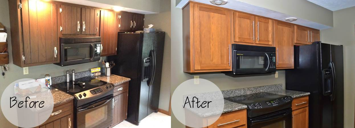 Perfect Singleton Before And After Cabinet Refacing